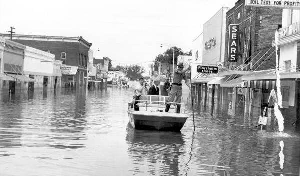 Governor Bryant surveys flood damages after Hurricane Dora (September 13, 1964). | Florida Memory