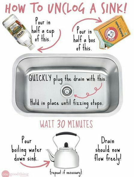 Unclog a sink clean like a mother pinterest for How to unclog a sink