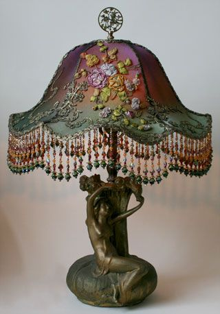 Pair of Antique Tablle Lamps with Custom Beaded Shades