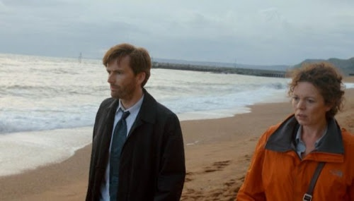 Broadchurch with David Tennant and Olivia Colman; series starts in March on ITV1. More info here: http://tennantnews.blogspot.co.uk/2013/02/watch-new-broadchurch-trailer-with.html
