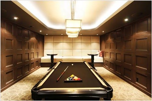 Luxurious Modern Billiard Room Design with Extravagant Wood Tile Wall and Lighting
