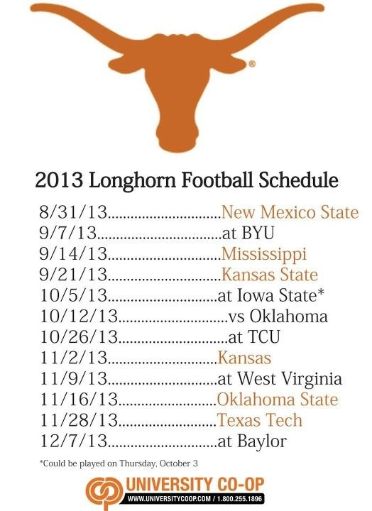 2013 longhorn football schedule