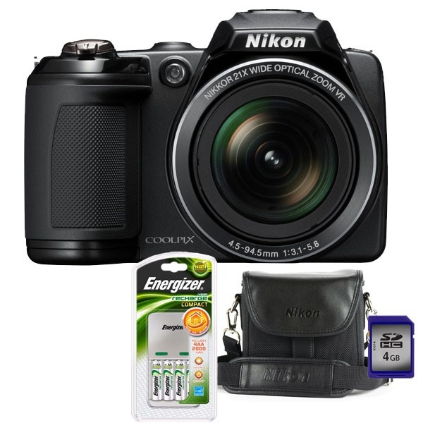 Camera foto digitala NIKON L310, 14.1 Mp, 21x, 3 inch, negru + geanta + incarcator + card SD 4GB
