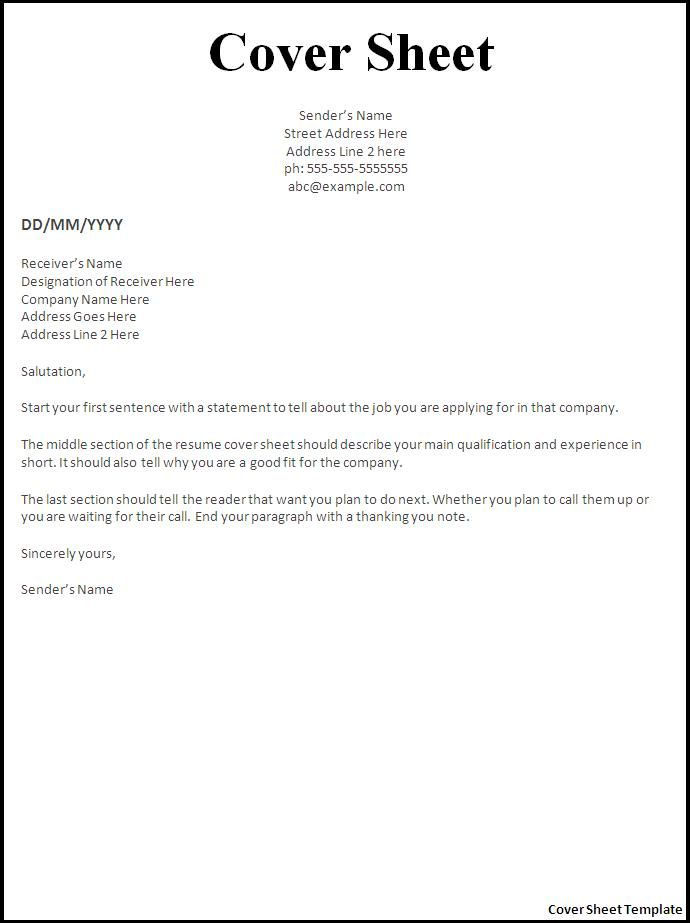 resume fax cover sheet example