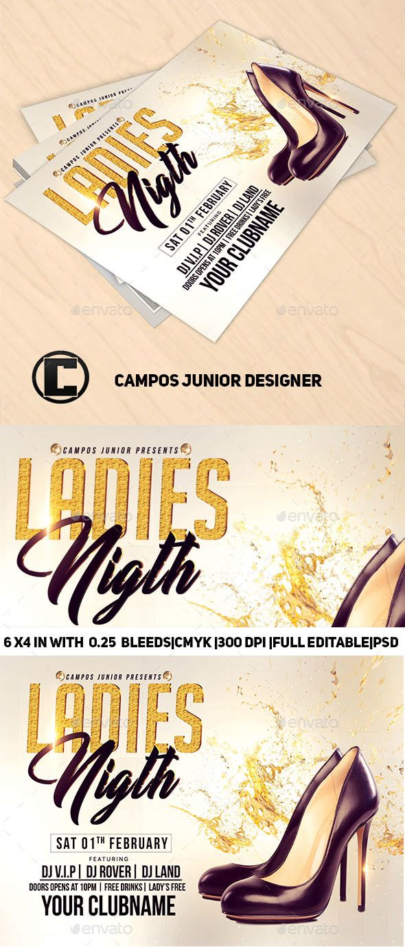 #Ladies #Nigth-Flyer #Template - Clubs & Parties Events