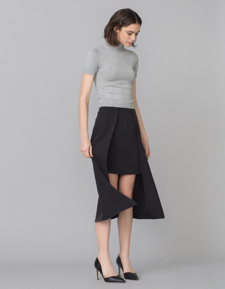 Falda midi asimétrica capa   Blanco