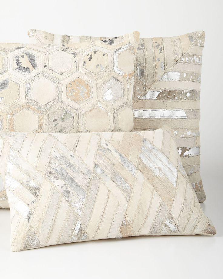 Silver Cowhide Pillows