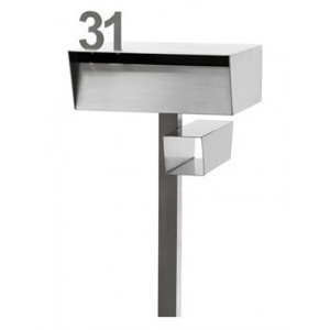 Robert Plumb's Dan Kelly Free Standing Letterbox: Large entry slot will fit A4 size packages. Sleek contemporary design, safety lock & weather flap. Post & box sold separately so the box can be affixed to the top of a wall, if desired. Interchangeable number system. Constructed from 2.5mm 316 marine grade stainless steel.