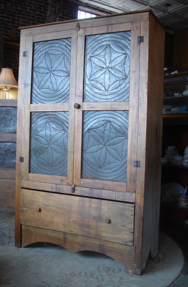 Antique 1850's Southern Primitive Farm Built Punch Tin Pie Safe Cupboard - 1382 Best Love Cupboards Images On Pinterest Primitive Decor
