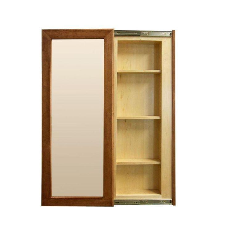 InvisiDoor 21 in. x 35 in. Unfinished Maple (Brown) InvisiFrame Hidden Storage Sliding Door