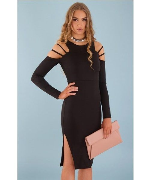 Nat Cold Shoulder Long Sleeve Midi Bodycon Dress – Black | $67.95 |  f r e e   p o s t | cold shoulder  •  long sleeve •  clutch