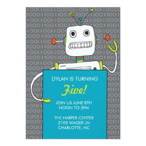 407 best Robot Birthday Party Invitations images on Pinterest - fresh birthday invitation from a kid