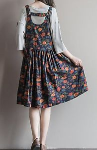 Women loose fit over plus size orange flower dress flax linen blouse pocket cjoc