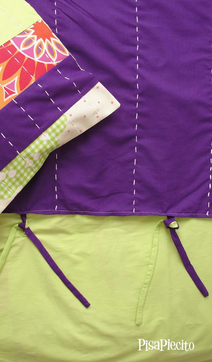 Cubre edredón reversible para niña.  lado b (liso con bordados y aplicaciones a mano)