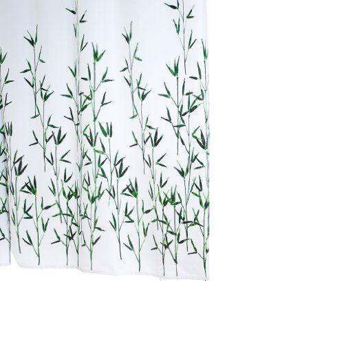 Ridder 473050-350 Duschvorhang Textil ca. 180 x 200 cm, Bambus grün inklusive Ringe