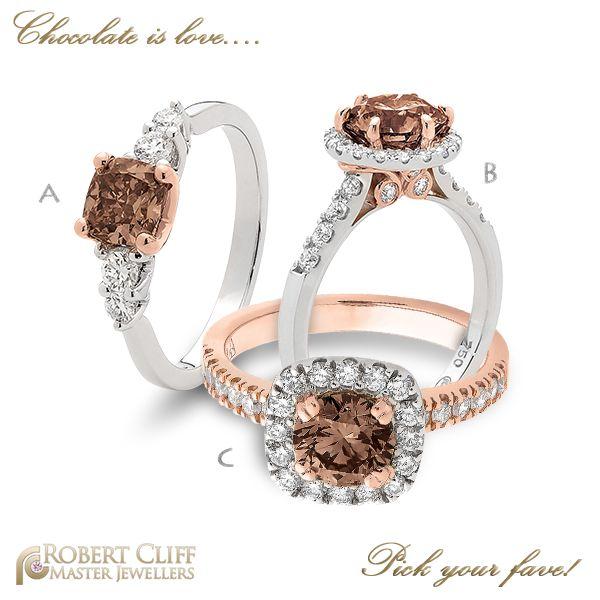 Which of these #chocolate #diamond #ring design is your favourite?  #chocolatediamond #Diamond #Jewellery #Bling #diamondring #Australian #Argyle #stunningdiamond #jewellerydesign #diamonds #beauty #diamondareforever #diamondlife