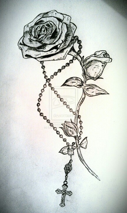 I want something like this but with prayer hands holding the rose with the rosary beads