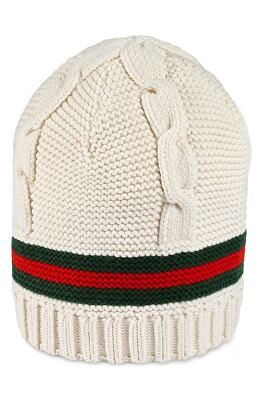 816def2bc GUCCI Designer Liom Cable Knit Beanie