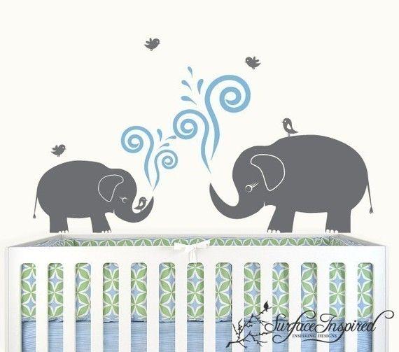 182 best children wall decals stencils murals images for Elephant mural nursery