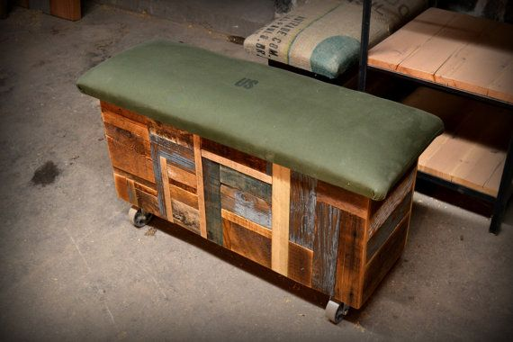 Reclaimed Wood and Recycled Army Tent Storage by RecycledBrooklyn