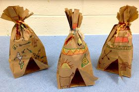 Paper Bag Tepees     Students enjoyed learning about Native American Art.      They were introduced to the following Native American symbol...
