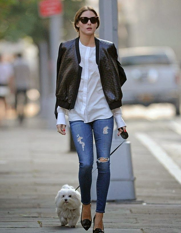 The Olivia Palermo Lookbook : Olivia Palermo looking chic while walking Mr. Butler in New York City.