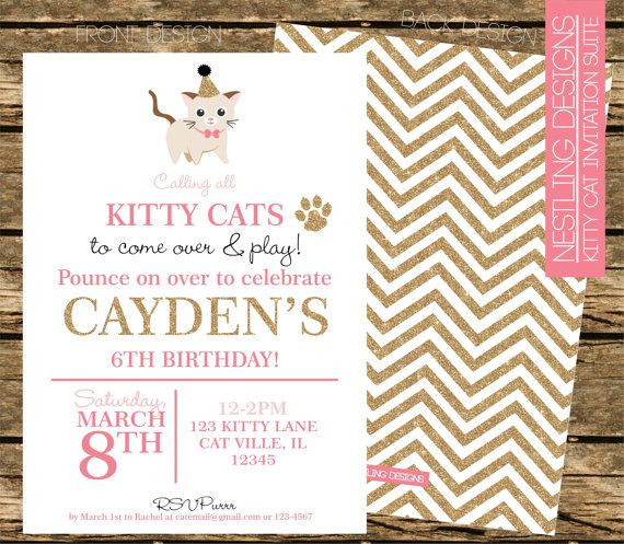 19 best images about Kitten party ideas – Cat Party Invitations