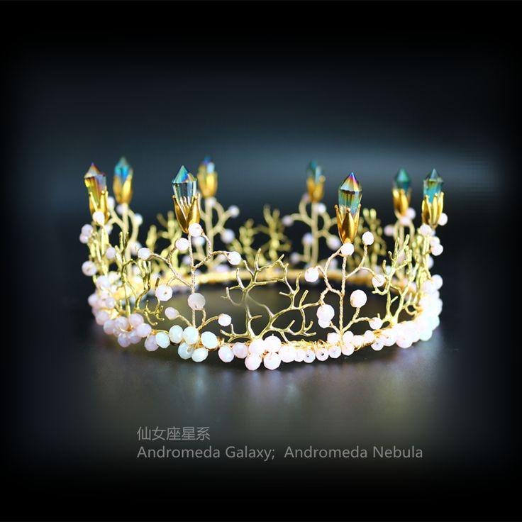 Sen Универсальные ручной свадебный головной убор большая корона светло-зеленый кристалл Гирлянда корону свадебные фотографии студии укладки волос аксессуары для волос - Taobao