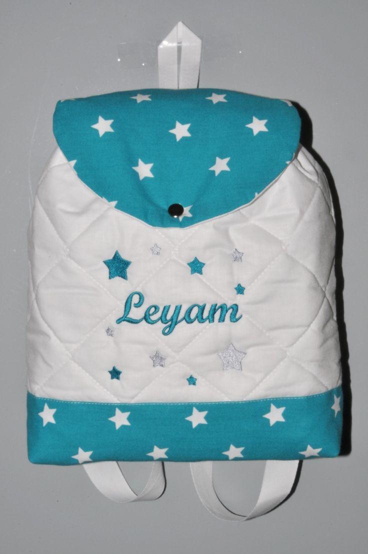 Sac a dos enfant étoiles bleu vert brodé au prenom : Sacs enfants par lbm-creation