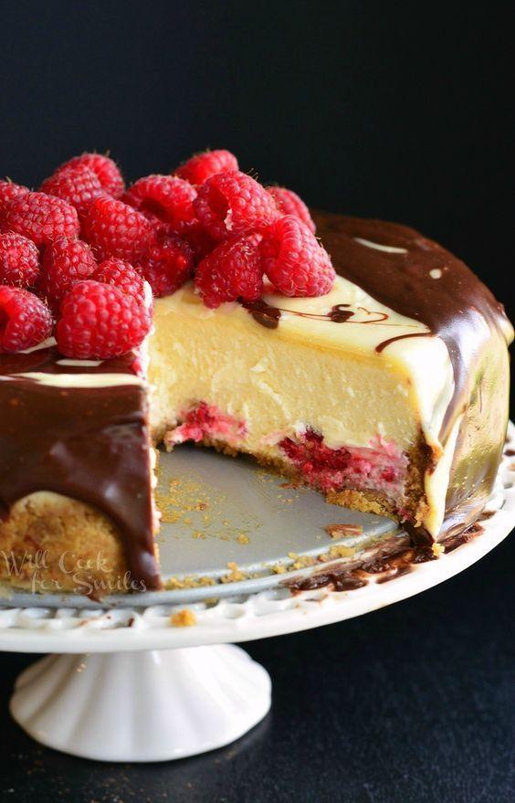 Double Chocolate Ganache and Raspberry Cheesecake   from willcookforsmiles.com