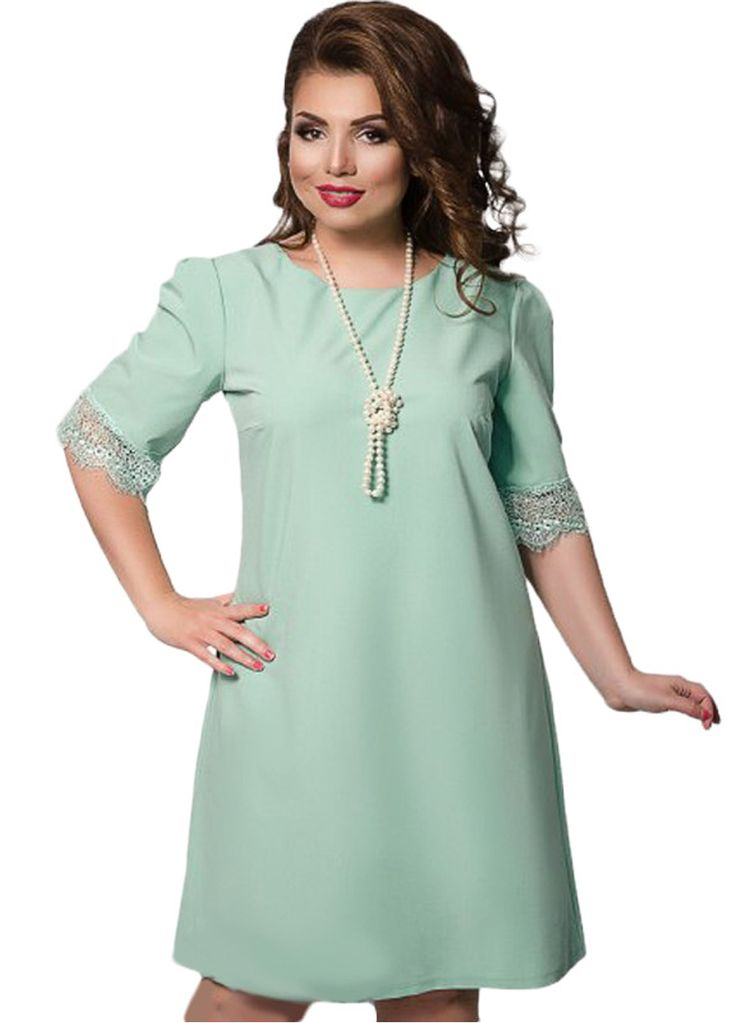 Lace Spliced Sleeve Casual Ladies Plus Size Dress_Plus size Dress_Plus size Clothing_Sexy Lingeire | Cheap Plus Size Lingerie At Wholesale Price | Feelovely.com