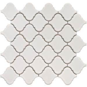 Merola Tile Lantern 12-1/2 in. x 12-1/2 in. White Porcelain Mesh-Mounted Mosaic Tile  $6.95/square foot