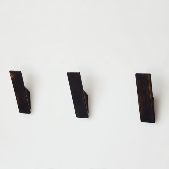 Black Scorched Ash Coat Hooks, Scandinavian or Nordic Style Design. Towel Hook. Wall Hook. Contemporary. Modern. Rustic. Industrial $40