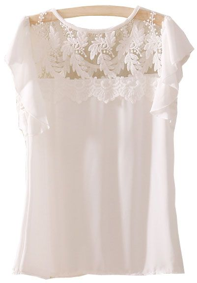 White Short Sleeve Lace Ruffles Chiffon Blouse