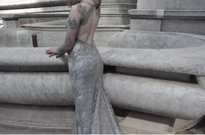 Cary by When Freddie met Lilly. Bridal Gowns. Wedding dress. Boho bride. Bohemian. Alternative Wedding. Dress. French Lace. By When Freddie met Lilly. Romantic. Backless Gown. New York Fashion Week. NYFW. Ivory. Grand Central Station. Audrey Hepburn. Embellishment. Bling.