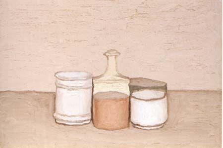 Giorgio Morandi: Natura morta con bottiglia e bicchieri
