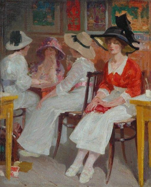 Wilhelm Ferdinand Abraham Isaac 'Willem' Vaarzon Morel (Zutphen 1868-1955 Koudekerke) Jonge vrouwen in een theehuis - Kunsthandel Simonis en Buunk, Ede (Nederland).