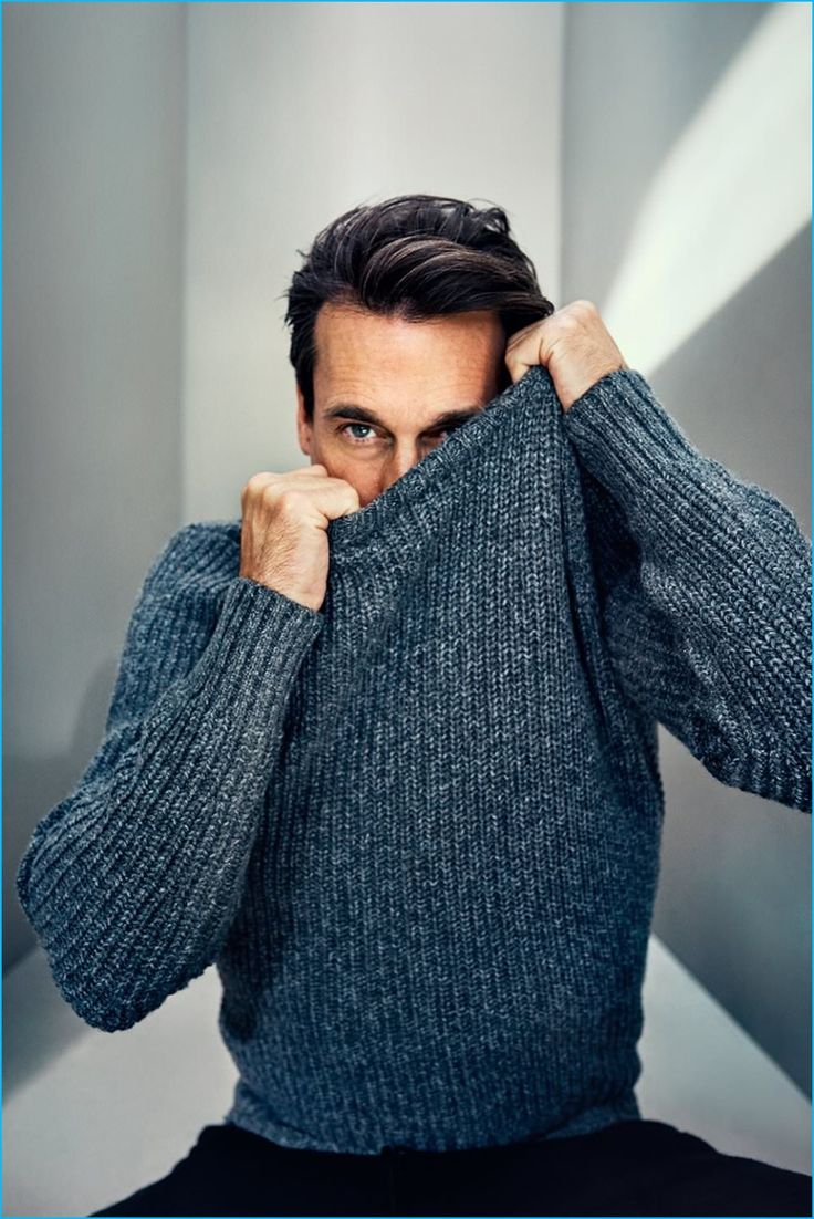 Charming in his Mr Porter photo shoot, Jon Hamm sports a Tom Ford slim-fit ribbed mélange cashmere and wool-blend sweater with Loro Piana silk and cashmere-blend sweatpants.