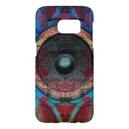 Red music speakers on a cracked wall samsung galaxy s7 case - diy cyo personalize design idea new special custom