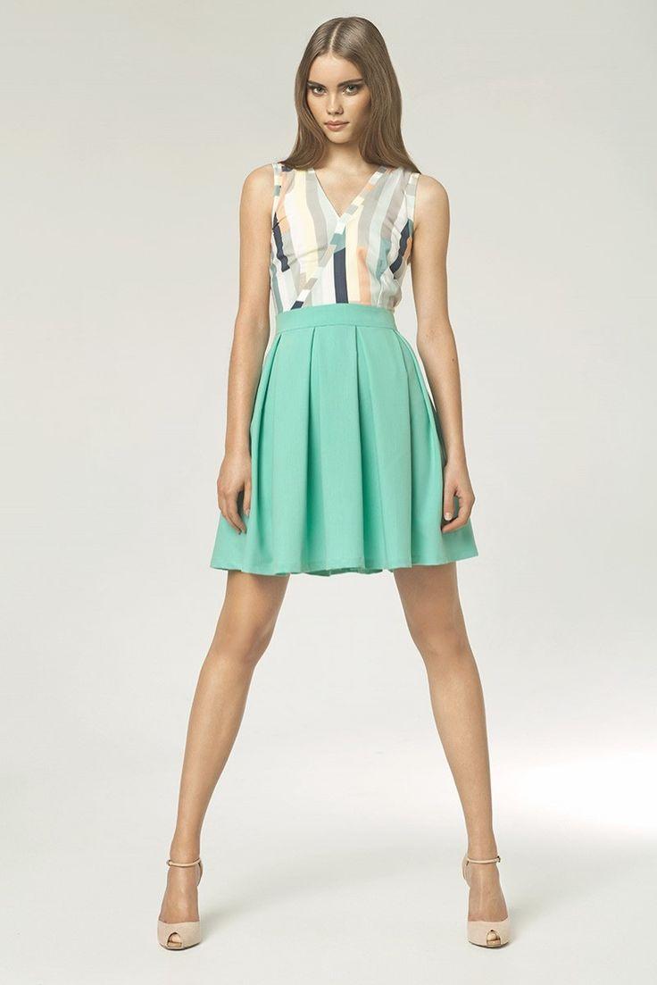 Sukienka Model S42 Seledyn/Paski NIFE #modadamska  #sukienkiletnie #sukienka #suknia
