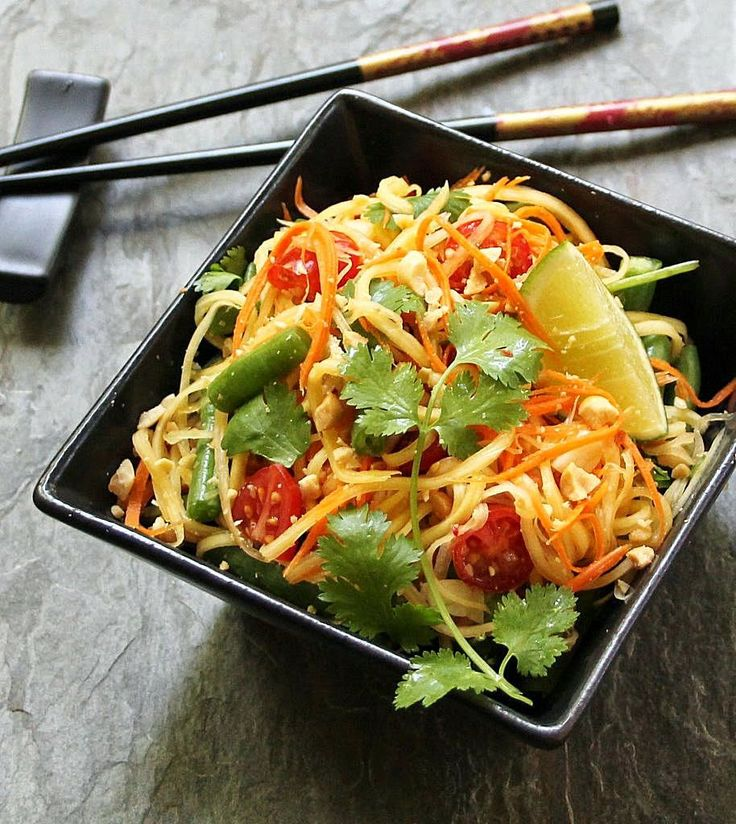 Thai Green Papaya Salad (Som Tum) ~ an explosion of color, contrasting flavors and texture | Inspired Edibles