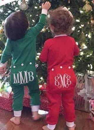Monogram Christmas Pajama with flap. Christmas Long Johns Available in red/white…