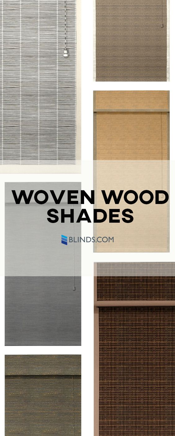Woven wood window shades are right for every decor. Meticulously woven for varying degrees of light filtration, select from a full range of privacy weaves or open weaves. Raise and lower these matchstick shades (also called matchstick blinds or bamboo shades) in one smooth, easy motion.