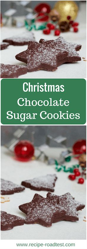 Delicious chocolate sugar cookies in christmas star and tree shapes. Get the recipe at www.recipe-roadtest.com