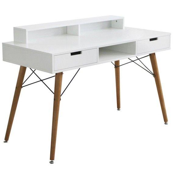 Letisztult és trendi, fiatalos íróasztal, ami remek kiegészítője minden modern irodának, dolgozószobának.Íróasztal, MDF fehér, fenyő tömörfa lábak, 2 fiókkal, Szé/Ma/Mé: kb. 120/84/55cm