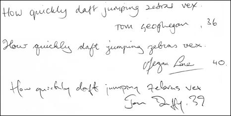 3 samples of English handwriting from a BBC article.