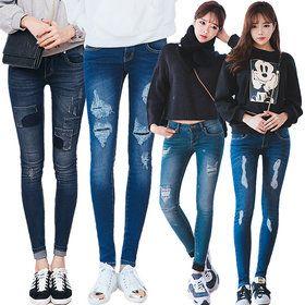 Gmarket - Frayed denim skinny jeans / ankle length / polka dot /...