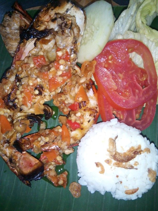 Grill Prawn chili and steam rice