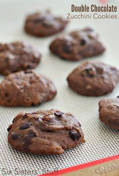 Double Chocolate Zucchini Cookies from SixSistersStuff.com | These soft, chocolatey cookies are a family favorite- and you would never know that they are loaded with zucchini!