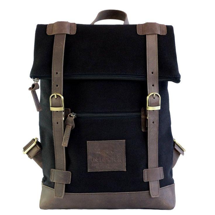 manbefair Melbourne FAIR TRADE Canvas Öko Leder Rucksack Backpack Handgepäck (Grau) 25x43x20 cm (BxHxT): Amazon.de: Koffer, Rucksäcke & Taschen